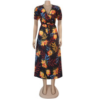 Casual Short Sleeve Print V Neck Mid Dress