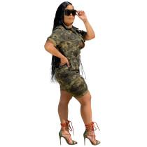 Cardigan Woven Camouflage Short Jumpsuit
