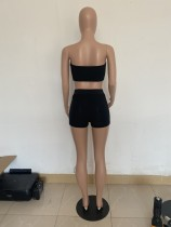Pure Color Tube Top Yoga Two Piece Sett with Mask