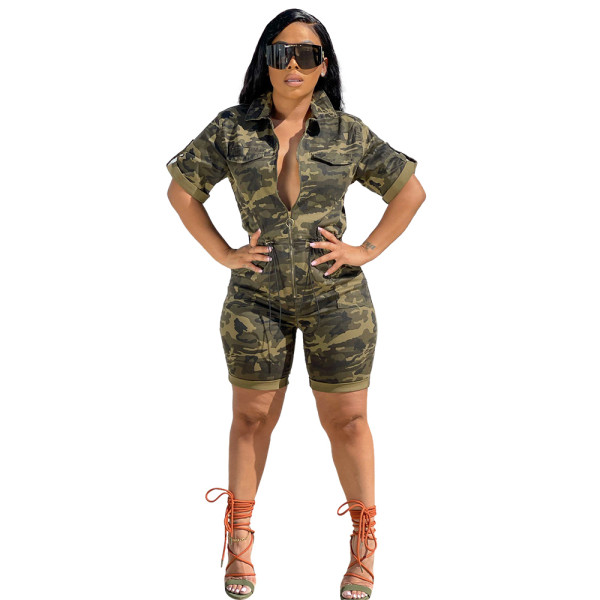 Cardigan Woven Camouflage Short Jumpsuit