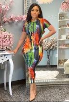 Summer Tie-dye Print Round Neck Mid Dress