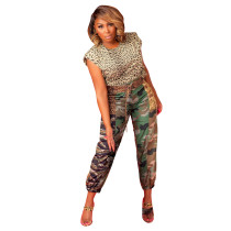 Casual Print Camouflage Leopard Long Pants with Belt