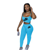 Solid Color Letter Printed Straps Crop Top and Trousers