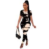 Black and White Spot Print Jumpsuit