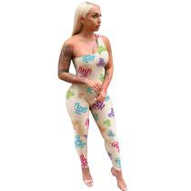 Casual One Shoulder Print Jumpsuit