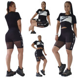 Casual Mesh Print Letter Summer Two Piece Outfits