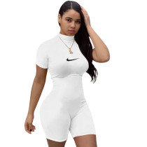 Casual Embroidered Short Sleeve Romper