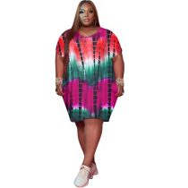 Printed Plus Size Women's Midi Dress