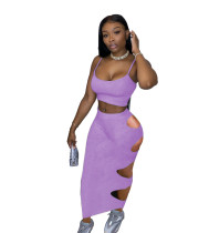 Solid Color Straps Crop Top and Holes Long Skirt