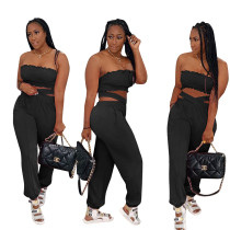 Sexy Tube Top and Cross Trousers with Pockets