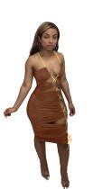 Irregular Hollow Drawstring Strap Sexy Dress