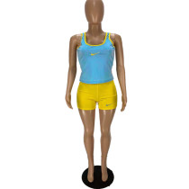 Casual Embroidery Sports Vest and Shorts