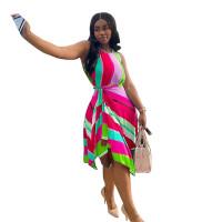 Casual Print Sleeveless Irregular Swing Dress