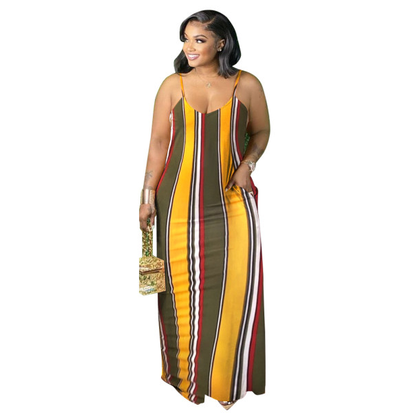 Print Spaghetti Strap Fat Plus Size Long Dress