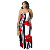 Print Spaghetti Strap Fat Plus Size Long Dress