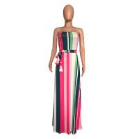 Sexy Strapless Striped Long Dress