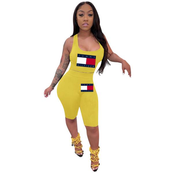 Solid Color Offset Sports Sleeveless Short Set
