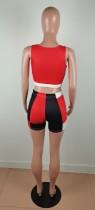 Cotton Women's Sports Color Matching Printed Short Set