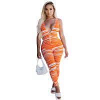Casual Zipper Sleeveless Deep V Striped Jumpsuit