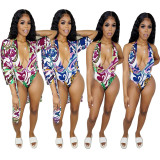 Sexy Printed V Neck Bodysuits with Cloak