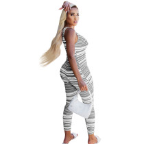 Casual Zipper Sleeveless Deep V Striped Jumpsuit