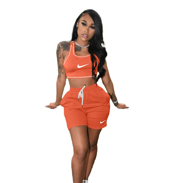 Casual Embroidery Sports Short Set with Pocket