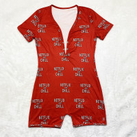 Casual Cartoon Printed Letters Home Short Jumpsuit