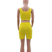 Pure Color Sports Vest 2 Pc Set with Pocket