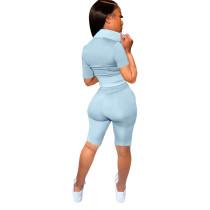 Solid Color Sport Short Pant Set