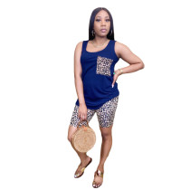 Casual Leopard Print Sleeveless Two Piece Outfits