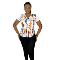 Casual Printed V Neck T-shirt