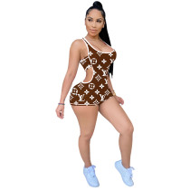 Sexy Positioning Printing Romper