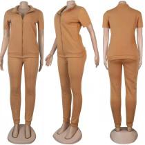 Solid Color Short Sleeve Pant Set