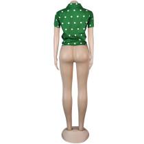Green Cardigan Polka dot Lapel Shirt