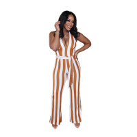 Casual Colorful Striped Print Halter Jumpsuit
