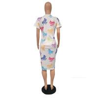 Plus Size Print Letter Midi Dress