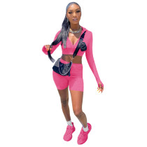 Solid Color High Neck Long Sleeve Jogging Two Piece Set