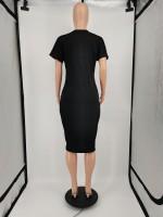 Plus Size Letter Print Midi Dress