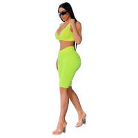 Pineapple Jacquard Yoga Vest and Midi Short