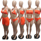 4 Piece Set Letter Offset Printed Bikini Set Tube Top and Shorts (Available 13rd May)