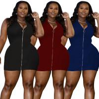 Solid Color Zipper Women's Plus Size Mini Dress