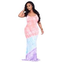 Casual Straps Printed Striped Tie-dye Maxi Dress