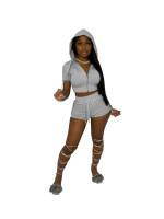 Solid Color Zipper Hoodie Short Set