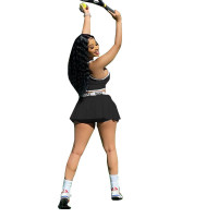 Casual Tennis Sports Vest and Pleated Culottes Set