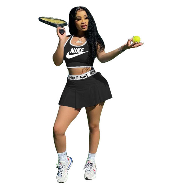 Casual Tennis Sports Vest and Pleated Culottes Jersey Set