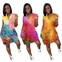 Casual Tie-dye Printed Mini Dress