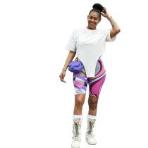Casual Irregular Top and Print Shorts