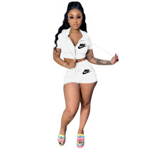 Casual Sports Hooded Shorts Two Piece Set