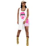 Casual Lip Print Long Vest and Shorts