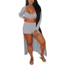 Solid Color Straps Shorts Set with Cardigan